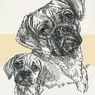 Puggle Father & Son by BarbBarcikKeith