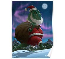 Dinosaur Christmas Santa out in the snow Poster