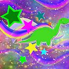 Cute Cartoon Dinosaur Color Swirls Galaxy by cutecartoondino