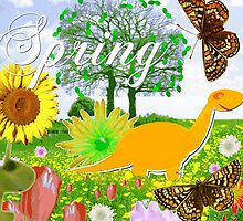 Cute Dinosaur Spring Landscape by cutecartoondino