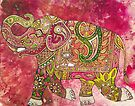 Painted Elephant, Running by Lynnette Shelley