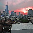 Sunset Taken From Our Hotel Window In Shanghai, China. by Ralph de Zilva