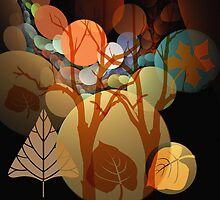 Fractal Abstract Mixed Media art with Leaves and Trees by walstraasart