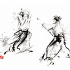Aikido enso circle martial arts sumi-e original ink painting artwork by Mariusz Szmerdt