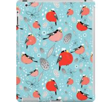 winter pattern of bullfinches iPad Case/Skin