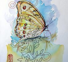 Yellow Butterfly and Sewing Thread by Audrey Takeshta