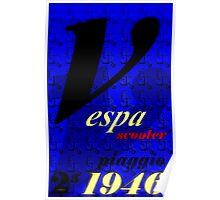 Vespa Scooter  (Blue) Poster