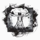 Vitruvian Man - Leonardo Da Vinci Tribute Art Grunge T Shirt by Denis Marsili - DDTK