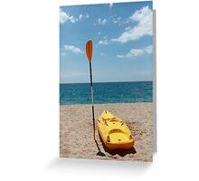 Kayaks on Beach Greeting Card
