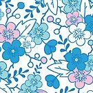 Blue pink kimono flowers pattern by oksancia