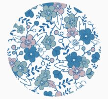 Blue pink kimono flowers pattern Kids Clothes