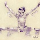Gymnastics - pastel drawing by Paulette Farrell