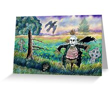 Halloween Field with Funny Scarecrow Skeleton Hand and Crows Greeting Card