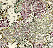 Vintage Map of Europe by pjwuebker