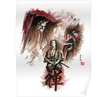 Samurai ronin zen meditation deamons of mind martial arts sumi-e original ink painting artwork Poster