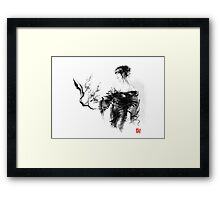 Geisha Japanese woman in kimono cherry blossom original Japan painting art Framed Print