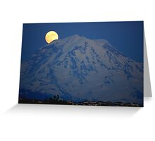 MOON OVER MT. RAINIER IN WASHINGTON STATE Greeting Card