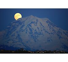 MOON OVER MT. RAINIER IN WASHINGTON STATE Photographic Print