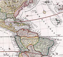 Vintage Antique Map of America Circa 1746 by pjwuebker
