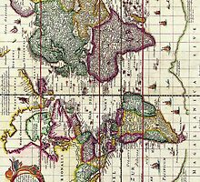 Antique Vintage Map of the Americas by pjwuebker