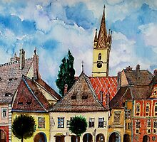 Evangelical Church Tower from Sibiu Transylvania by ivDAnu