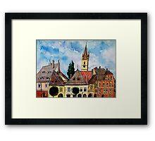 Evangelical Church Tower from Sibiu Transylvania Framed Print