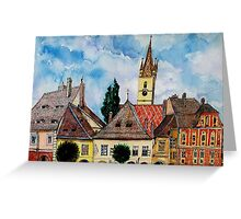 Evangelical Church Tower from Sibiu Transylvania Greeting Card