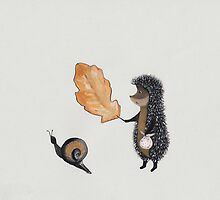 Nursery art - Hedgehog found the snail under leaf by Marikohandemade