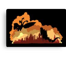 Godzilla versus Ghidorah cityscape Canvas Print