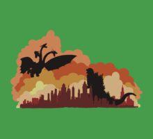 Godzilla versus Ghidorah cityscape Kids Clothes