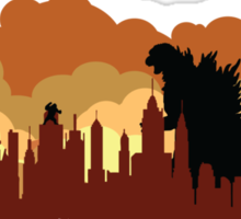 Godzilla versus King Kong cityscape Sticker