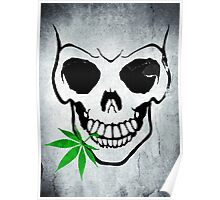 Skull with Weed -  Cool Skull with Pot - T Shirt Stickers Poster