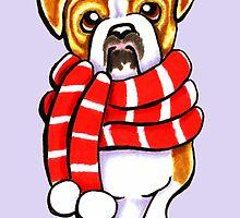 English Bulldog Happy Winter Scarf by offleashart
