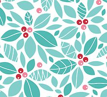 Holly berries and leaves pattern by oksancia