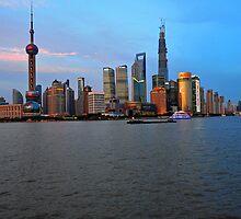The New Shanghai Taken From The Bund, China. by Ralph de Zilva
