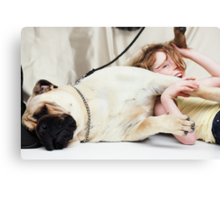 The Pug and his Child Canvas Print