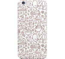 outline doodle birds pattern iPhone Case/Skin