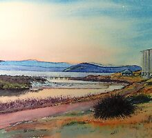Sunset over Bernacchi Creek and the Silos, Maria Island. by melhillswildart