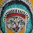 Cat in Indian head dress  by Stolensouljess