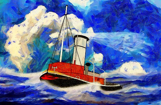 A digital painting of a Sea going Steam Tugboat by Dennis Melling