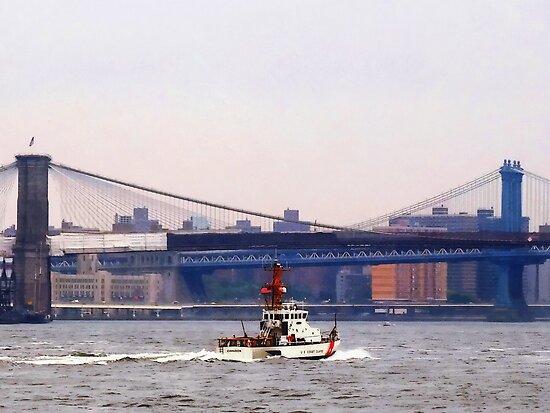 Boats - Coast Guard Cutter Near Brooklyn Bridge by Susan Savad