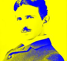 Nikola Tesla [Yellow Blue] | Wighte.com by FreshThreadShop