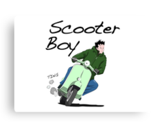 Scooter Boy Old Skool riding Canvas Print
