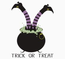 Trick or Treat with Witch Legs in Black Pot by Daisylin