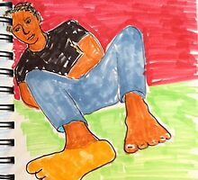 Daily Drawing eleven - relaxation  by carol selchert