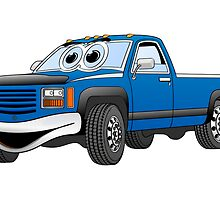 Blue Pick Up Truck Cartoon by Graphxpro