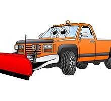 Orange R Pick Up Truck Snow Plow Cartoon by Graphxpro