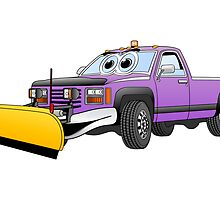 Purple Y Pick Up Truck Snow Plow Cartoon by Graphxpro