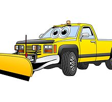 Yellow Y Pick Up Truck Snow Plow Cartoon by Graphxpro