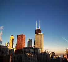 Chicago on a cold winter morning at sunrise by ieatstars